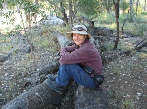 Sonya Duus on Bimblebox Nature Refuge.  Photo by Maureen Cooper