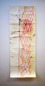 Jude Roberts Boundaries (2012) oil crayon on calculator paper. 7cm wide, various lengths Imprinting boundaries and netting fences (2012), Crayon, sand and wax on Kozo paper. 182 x 66cm (Image: 1.)  Photo my Mel de Ruyter