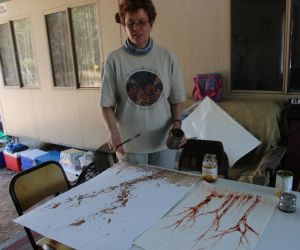 Glenda Orr painting with tree sap