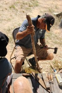 Howard working with the local timbers, photo by Jill Sampson