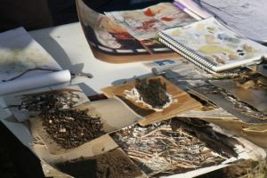 Artist Liz Mahood working with leaf litter and earth textures.  photo by Glenda Orr.
