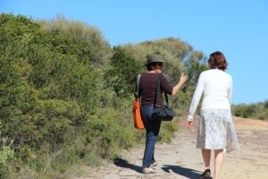 Alison Clouston talking with Beth Jackson while exploring the Royal National Park, NSW