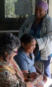 Dr Pamela Croft Warcon, Sarah Butler and Kaylene Butler
