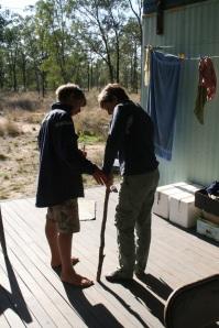 Karl making a crutch for Jill's twisted ankle, photo Glenda Orr