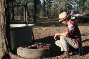 Boyd recording on Bimblebox, photo Glenda Orr