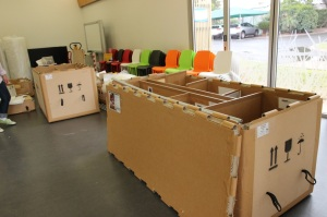 Crates ready to be labelled and packed