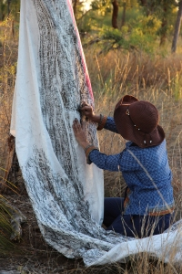 Jude Roberts, Graphite Tree Rubbing, Bimblebox Artist Camp, 2013.  photo Jill Sampson