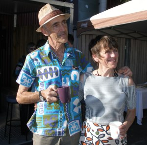 Alison Clouston and Boyd at the opening of Bimblebox 153 Birds, photo by Alana Brekelmans.