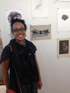 Artist Karen Kaese talks about her Dusky Woodswallow artwork, photo Jo Bragg