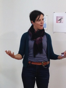 Christal George talks about her artwork of the Channel-billed Cuckoo, photo Jo Bragg