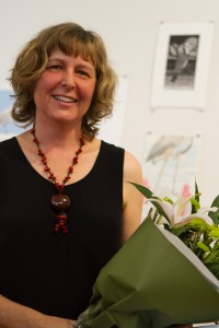 Coordinator and Curator Jill Sampson at the opening of Bimblebox 153 Birds, photo Alana Brekelmans.