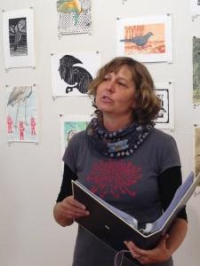 Jill Sampson reads Channel billed Cuckoo poem by Lorne Jonson 2 photo Jo Bragg