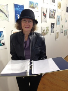 Writer Gabrielle Sheldon reads her poem about the White-throated Gerygone, photo Jo Bragg