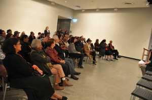 An audience gathered to hear speeches and enjoy an Aboriginal dance, song and welcome to country for NAIDOC week.