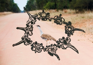 """Australian Bustard on the Road to Bimblebox"" 2014, block print on archival digital print, Alison Clouston, photo courtesy of the artist."