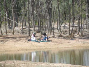 Christal and Rosie sketching at Milky Dam