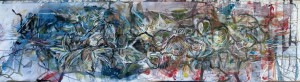 From the oldest to the poplar, ink, acrylic and charcoal on canvas, H 60cm x 230cm