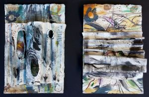Hollows in the fallen timber - Bimblebox collage on paper, H 42cm x 52cm