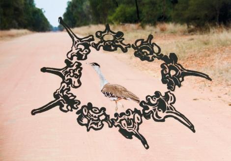 """Bustard on the Road to Bimblebox"" 2014 edition of 6, for Bimblebox 153 Birds"